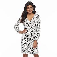 Petite Suite 7 Floral Faux-Wrap Dress