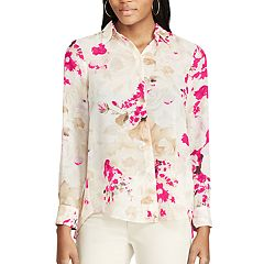 Women's Chaps Pleated-Back Floral Shirt