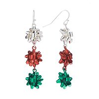 Silver Tone Christmas Bow Linear Drop Earrings