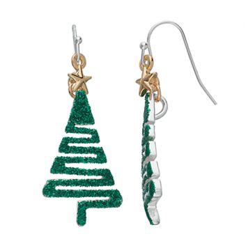 Glittery Christmas Tree Nickel Free Drop Earrings