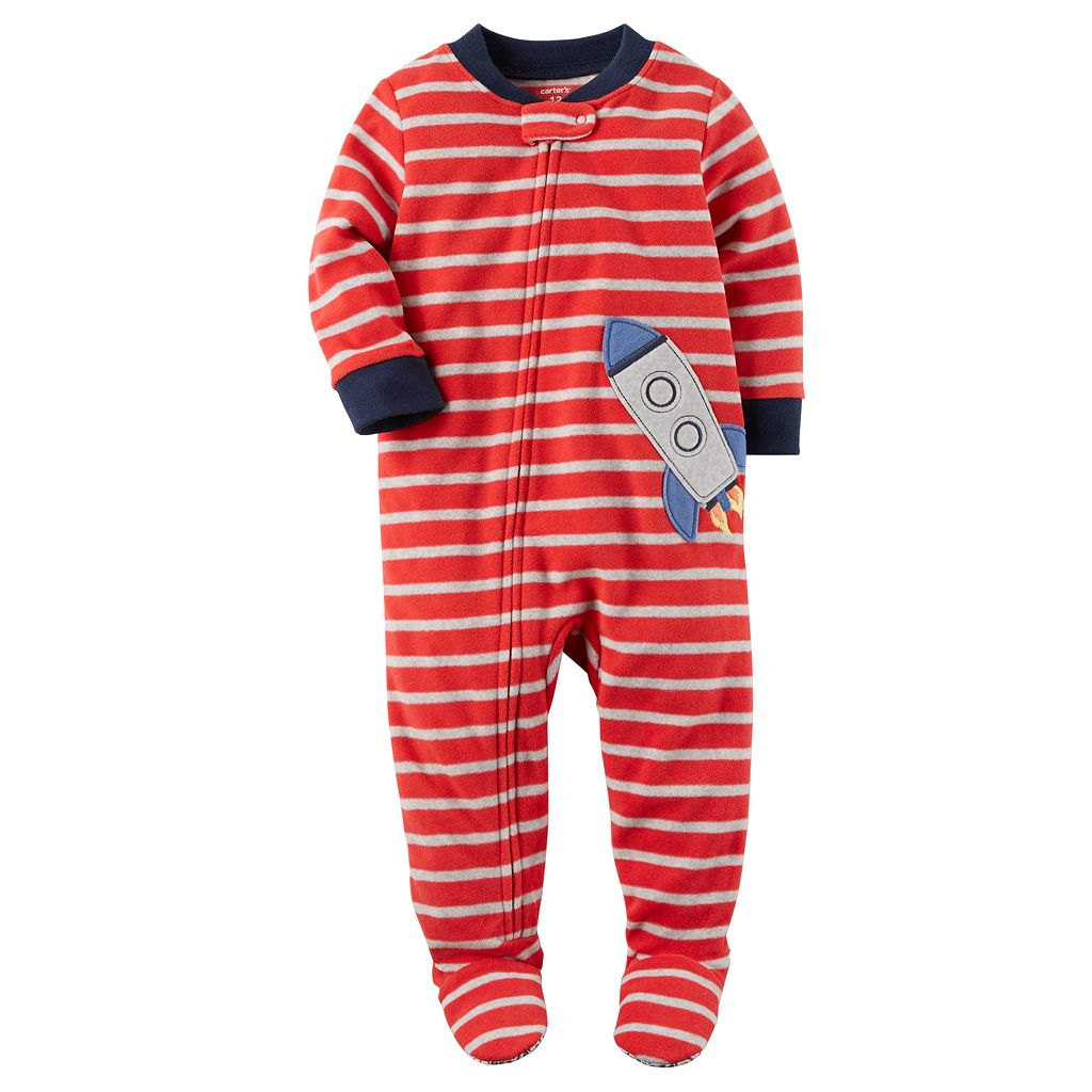 Baby Boy Carter's Print Fleece Footed Pajamas