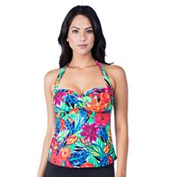 Women's Chaps Bust Enhancer Floral Halterkini Top