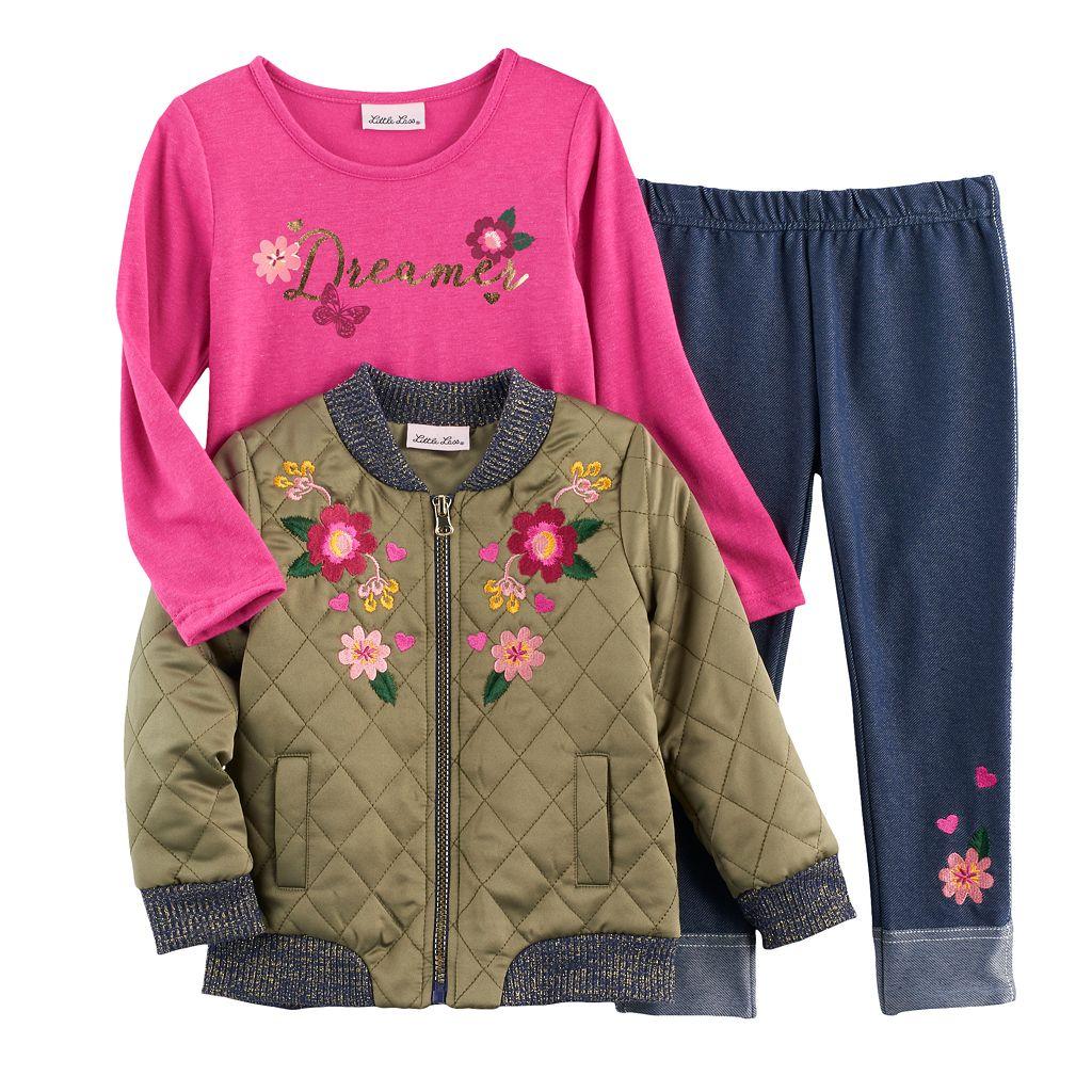 Toddler Girl Little Lass Bomber Jacket, Tee & Jeggings Set