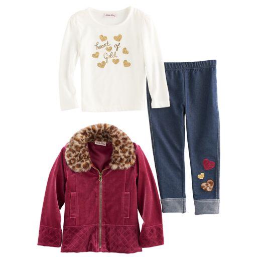 """Toddler Girl Little Lass Velvet Jacket, """"Heart of Gold"""" Tee & Jeggings Set"""