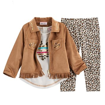 Toddler Girl Little Lass Faux Suede Jacket, Tee & Leggings Set