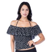 Women's Chaps Polka-Dot Off-the-Shoulder Halterkini Top