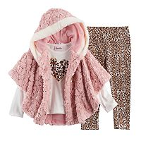 Toddler Girl Little Lass Faux Fur Poncho, Heart Tee & Cheetah Leggings Set