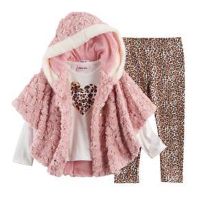 Toddler Girl Little Lass Faux Fur Poncho, Heart Tee & Cheetah Leggings Set