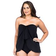Plus Size Chaps Solid Draped One-Piece Swimsuit