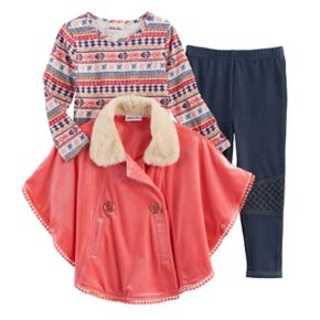 Toddler Girl Little Lass Jacket Poncho, Tee & Jeggings Set
