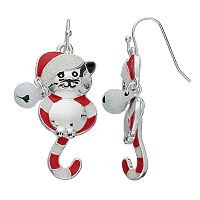 Candy Striped Cat Nickel Free Drop Earrings