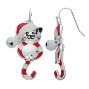 Candy Striped Cat Nickel Free Drop Earrings