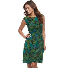 Petite Suite 7 Leaf Print A-Line Dress