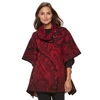 Women's Dana Buchman Patterned Turtleneck Poncho