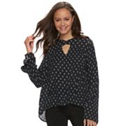 Juniors' Grayson Threads Keyhole Bell Sleeve Top