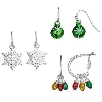 Christmas Light, Jingle Bell & Snowflake Earring Set