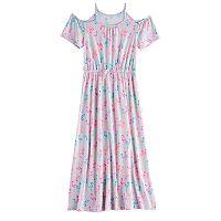 Girls 7-16 SO® Patterned Cold-Shoulder Maxi Dress