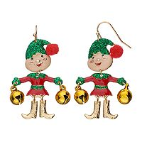 Glittery Jingle Bell Elf Nickel Free Drop Earrings