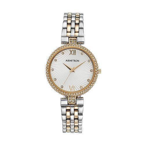 Armitron Women's Crystal Two Tone Watch - 75/5529SVTT