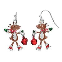 Jingle Bell Reindeer Nickel Free Drop Earrings