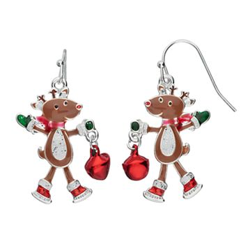 Jingle Bell Reindeer Nickel Free Drop Earrings