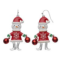 Glittery Jingle Bell Snowman Nickel Free Drop Earrings