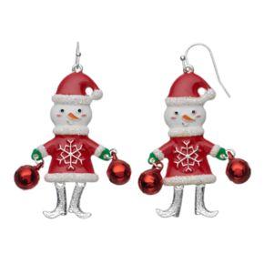 Glittery Jingle Bell Snowman Nickel Free Drop Earrings