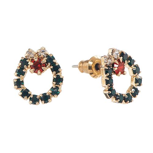 2f447dff900b4 Gold Tone Christmas Wreath Stud Earrings