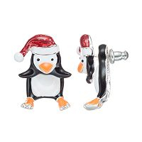 Santa Hat Penguin Jacket Earrings