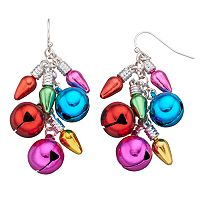 Christmas Light & Jingle Bell Cluster Drop Earrings
