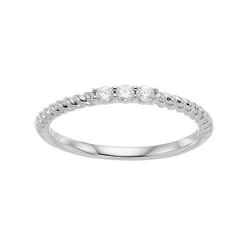 Simply Vera Vera Wang 14k Gold 1/10 Carat T.W. Diamond 3-Stone Twist Anniversary Ring