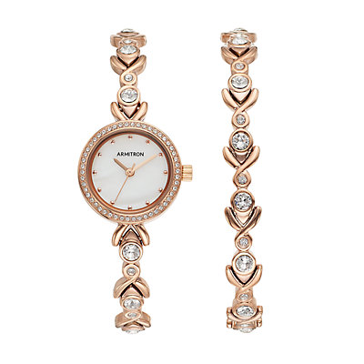Armitron Women's Crystal Watch & Bracelet Set - 75/5544MPRGST