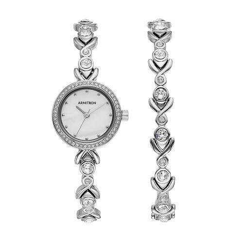 Armitron Women's Crystal Watch & Bracelet Set - 75/5544MPSVST