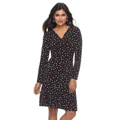 Petite Suite 7 Polka-Dot Faux-Wrap Dress