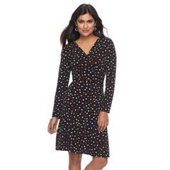 Petite Suite 7 Polka-Dot Faux-Wrap Dress