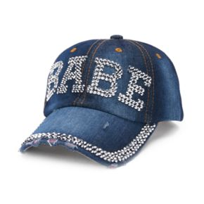"Women's Distressed Denim ""Babe"" Rhinestone Studded Baseball Cap"