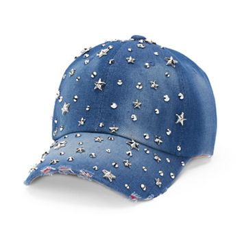 Women's Distressed Denim Starry Rhinestone Studded Baseball Cap