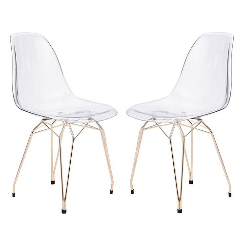Zuo Modern Shadow Clear Dining Chair 2-piece Set
