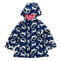 Girls 4-8 Carter's Midweight Unicorn Rainbow Fleece-Lined Rain Jacket
