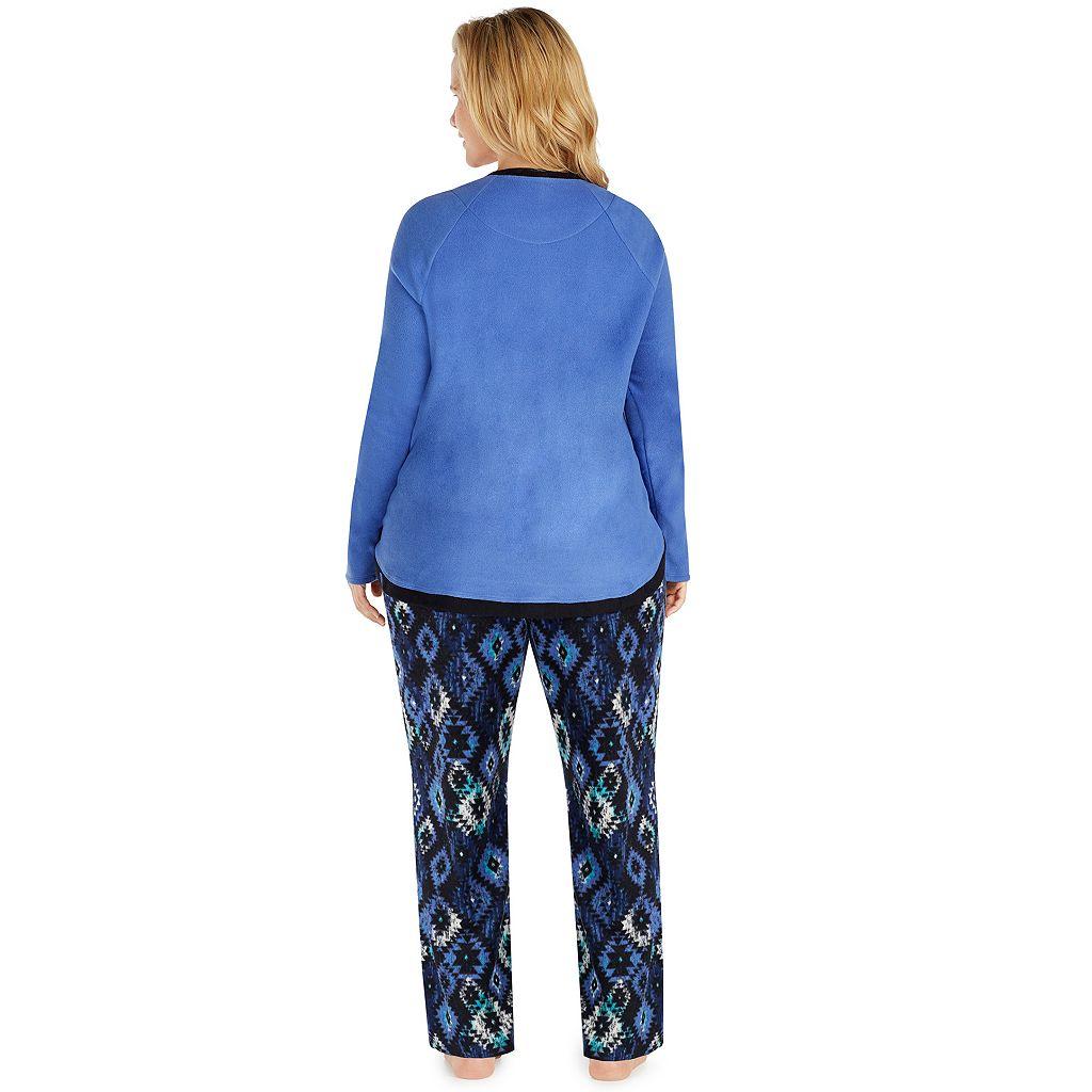 Plus Size Cuddl Duds Pajamas: Fleece Top & Pants PJ Set
