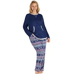 Plus Size Cuddl Duds Pajamas: Fleece Top & Pants PJ Set