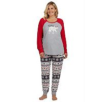 Women's Plus Cuddl Duds Family Jammies Mama Bear Top & Fairisle Bottoms Pajama Set