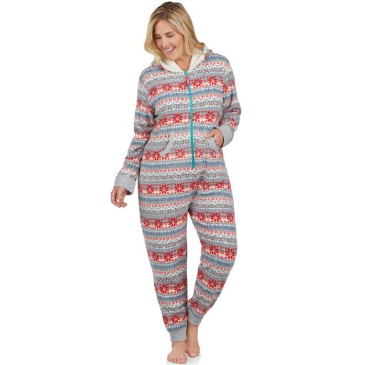 Plus Size Cuddl Duds Fleece Lined One-Piece Pajamas