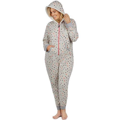 Plus Size Cuddl Duds Fleece Lined One-Piece Pajamas