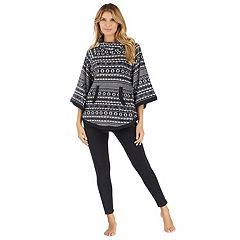 Women's Cuddl Duds Pajamas: By The Fire Poncho & Leggings 2 pc Set