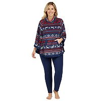 Plus Size Cuddl Duds Pajamas: By The Fire Poncho & Leggings 2-Piece Set