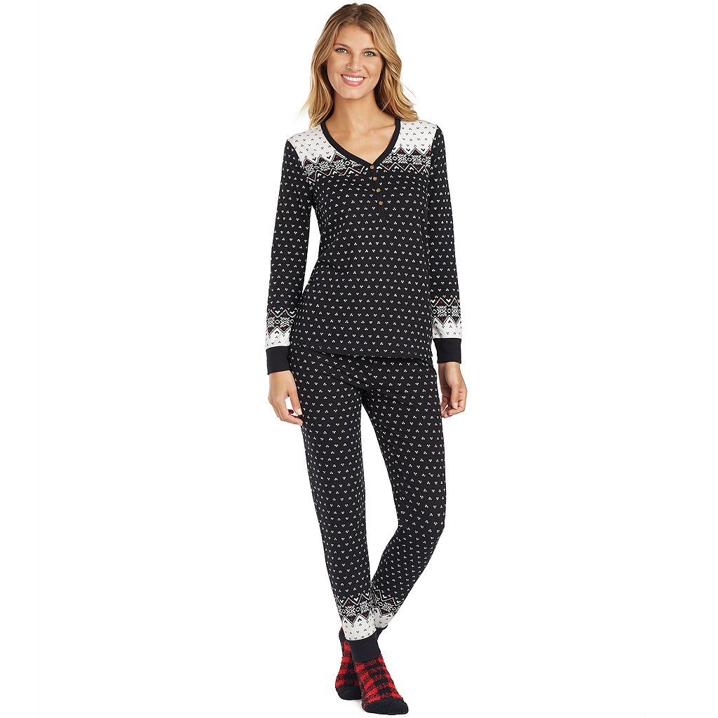 Women's Cuddl Duds Pajamas: Lucky Stripes Henley Top, Jogger Pants & Socks 3-Piece PJ Set