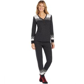 Women's Cuddl Duds Pajamas: Lucky Stripes Henley Top, Jogger Pants & Socks 3-Piece PJ Set