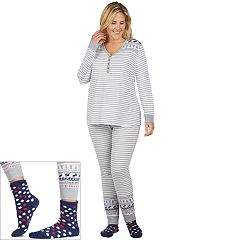 Plus Size Cuddl Duds Pajamas: Lucky Stripes Henley Top, Jogger Pants & Socks 3 pc PJ Set