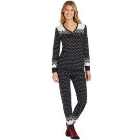 Petite Cuddl Duds Pajamas: Lucky Stripes Henley Top, Jogger Pants & Socks 3-Piece PJ Set